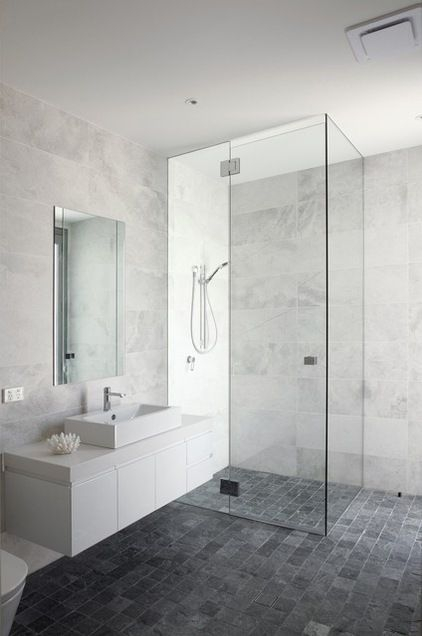 Bathroom: White/grey Marble Look Wall Tiles, Dark Grey Floor Tiles