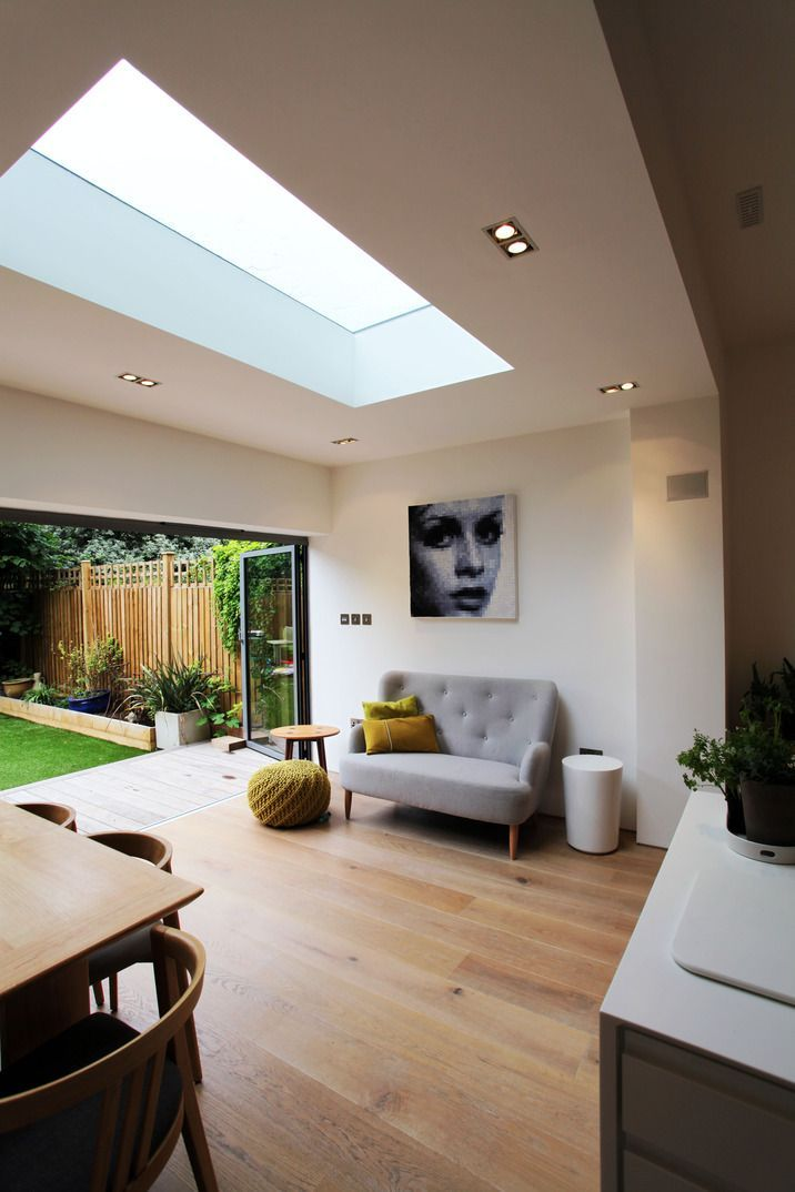 Roof lights work so well in modern kitchen - diner extensions - they bring in so much more light which otherwise could have been lost from the kitchen area.