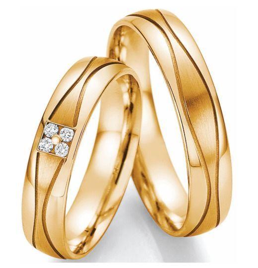 Trauringe Gelbgold mit Brillanten schlicht  Jewelry