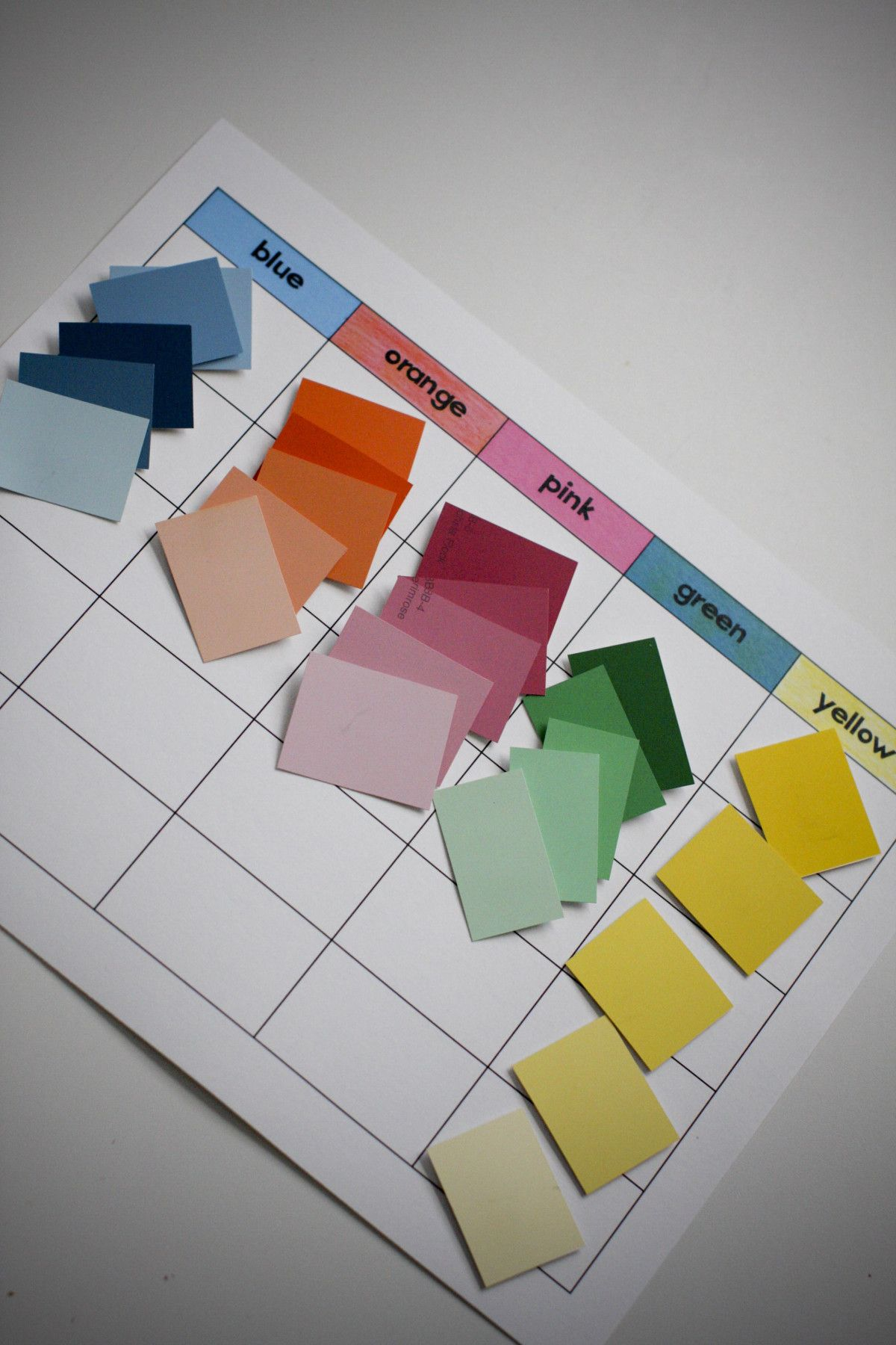 Colour shades activities - Learning Shades Of Colors With Paint Color Cards Easy And Usually Free