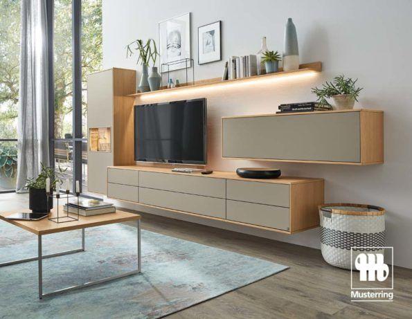 Musterring Kara Frame Wohnwand in Lack grau Jetzt einkaufen! - wohnzimmer ideen grau
