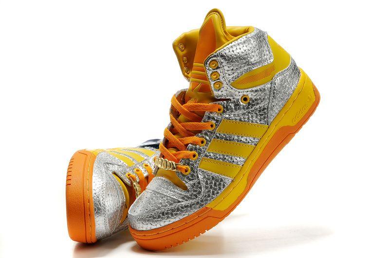 adidas originals x jeremy scott js logo silver yellow shoes  761389b29b6f