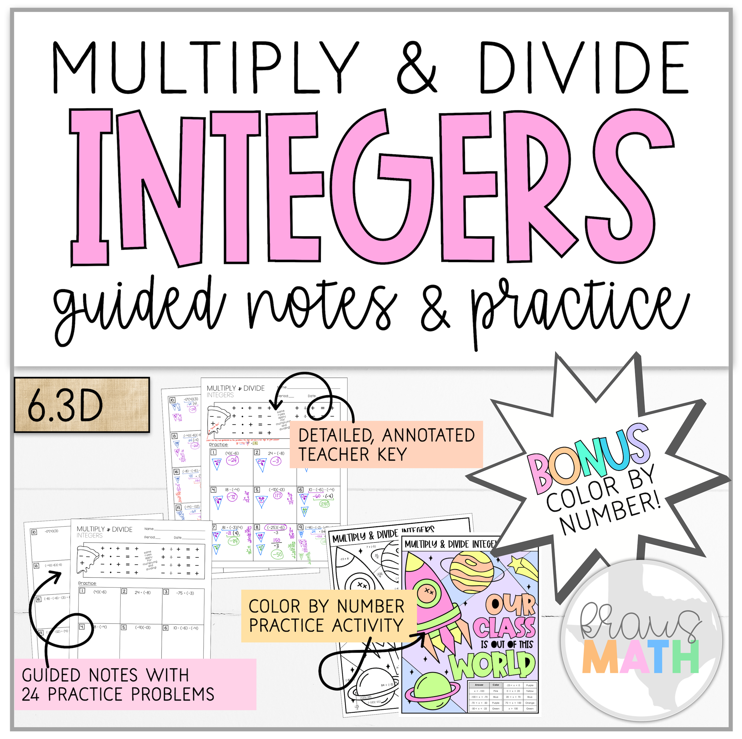 Multiply Amp Divide Integers Notes Amp Worksheet 6 3d