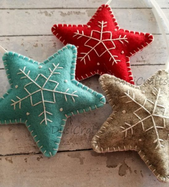 Wool Felt Christmas star ornaments red, blue and grey -   23 christmas crafts presents ideas
