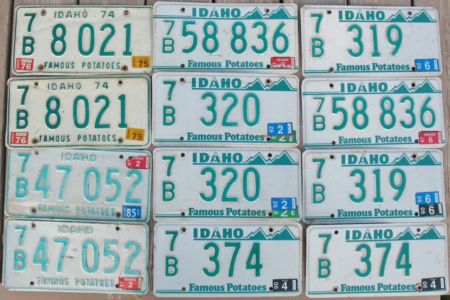 VTG Lot 12 Embossed Metal License Plates IDAHO 7B All Sets Green Mountains Car Vehicle Automobile Transportation Craft Diy by eclecticka on Etsy