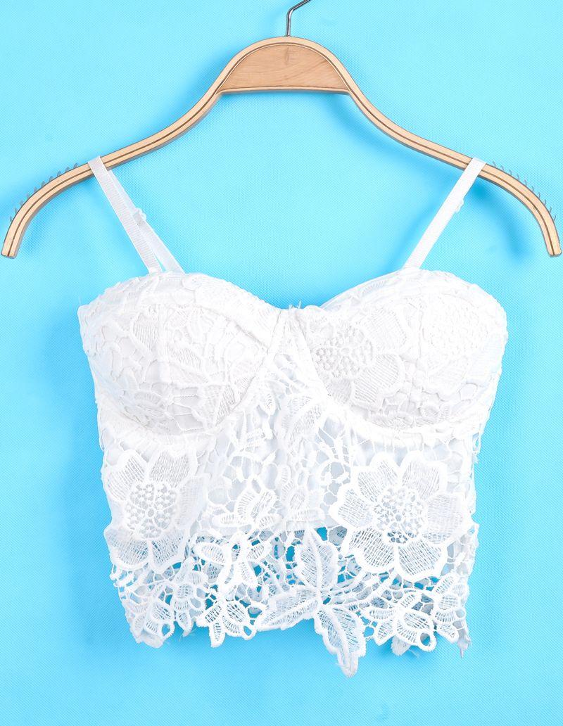 dd67d7246a1424 White Spaghetti Strap Floral Crochet Lace Cami Top