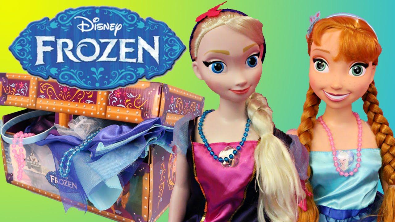 Frozen my size elsa and anna dress up dolls travel trunk