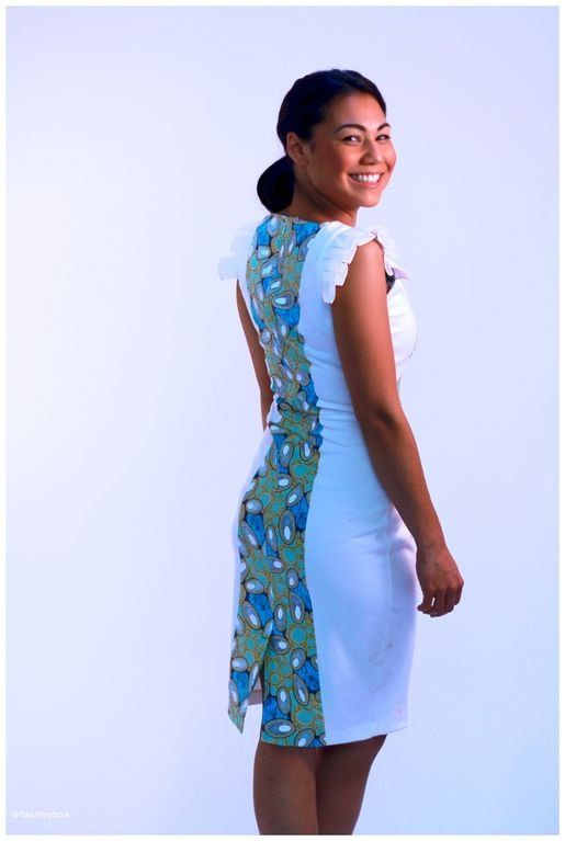 Ankara dress in white midi length tribal African door EldimaaFashion, £45,00