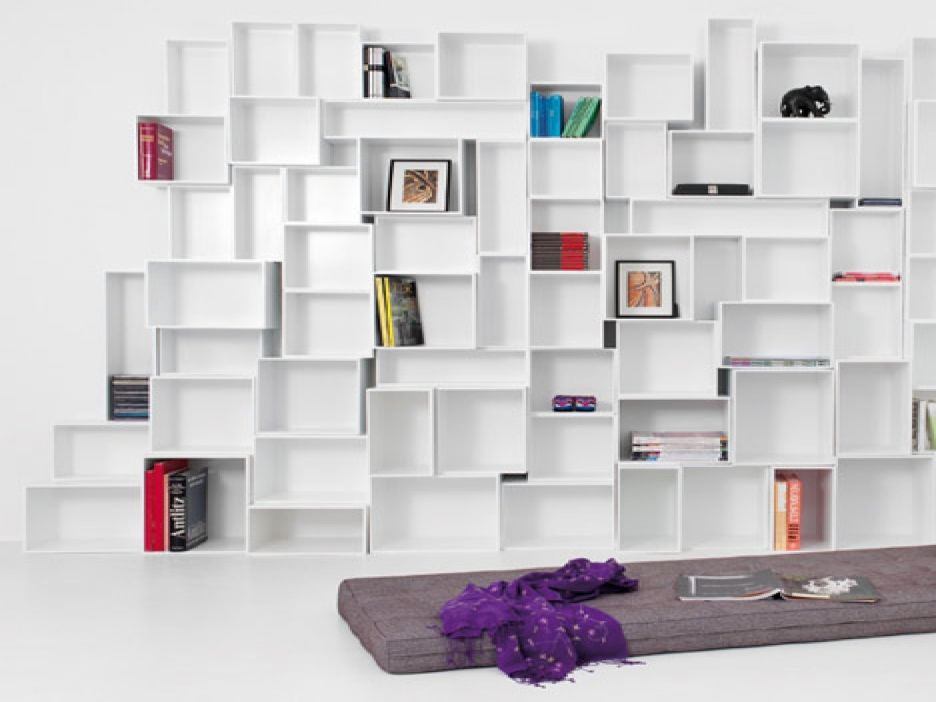 Furniture Cubit White Wooden Modular Shelving Unit Built In