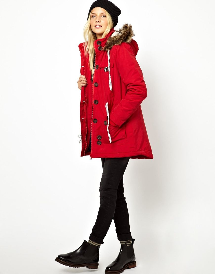 Women's Red Bellfield Parka Jacket with Faux Fur Trim Hood ...