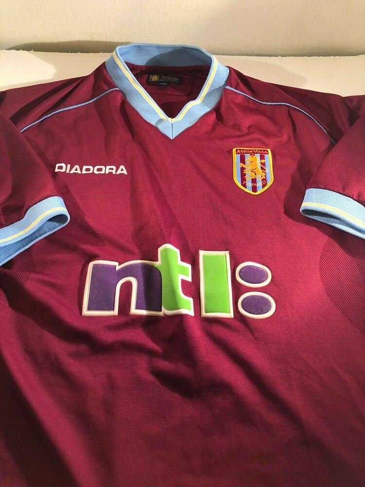 Vintage Aston Villa Football Shirt Diadora Ntl 2001 Season Size 46 48 Diadora Astonvilla Football Shirts Football And Basketball Mens Tops