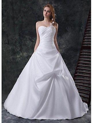Vestido de Boda Corte en A Sweetheart Catedral (Gasa de Terciopelo) - USD $ 199.99