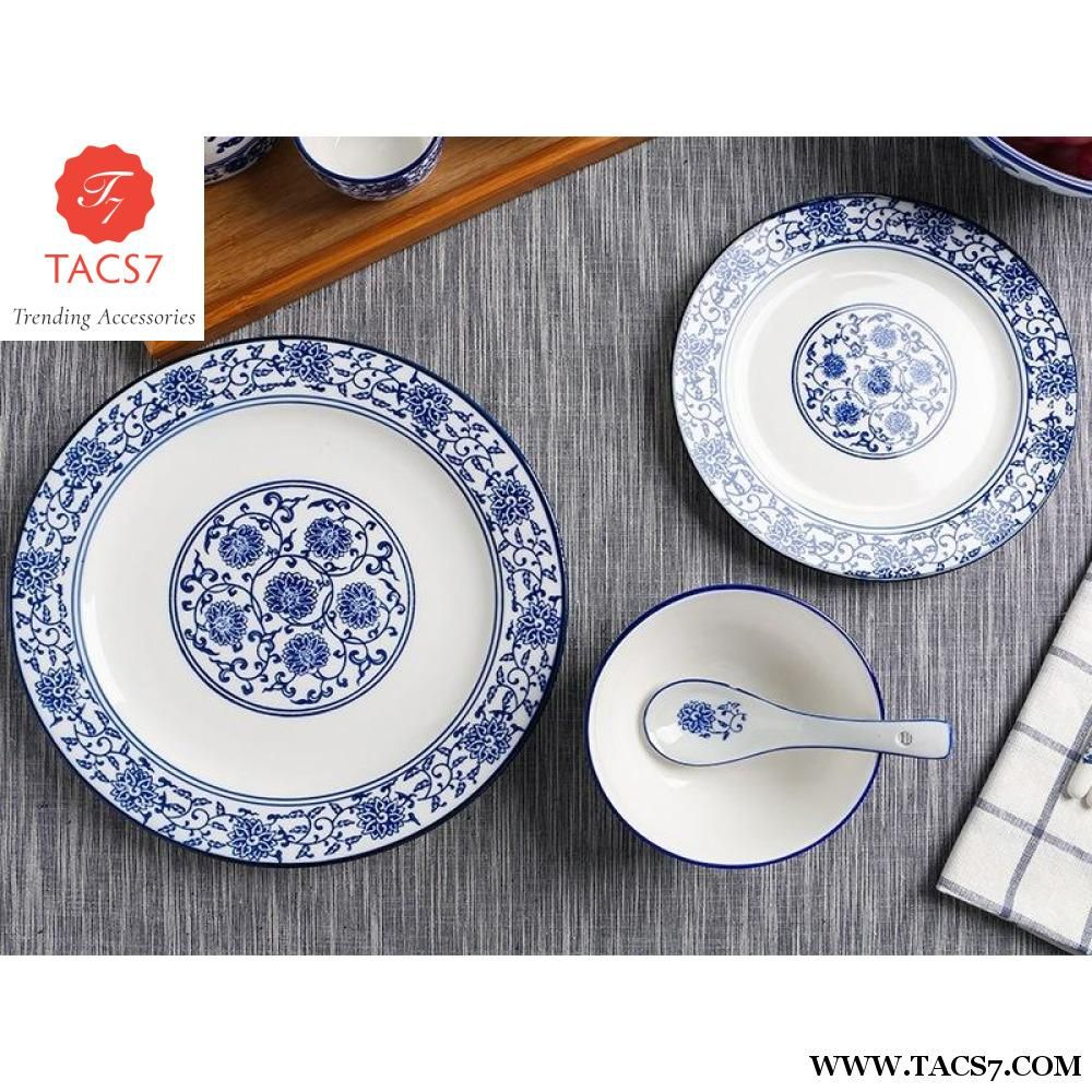 Blue And White Porcelain Dishes And Plates 10 Inch Ceramic Dinner Plat Trending Accessories