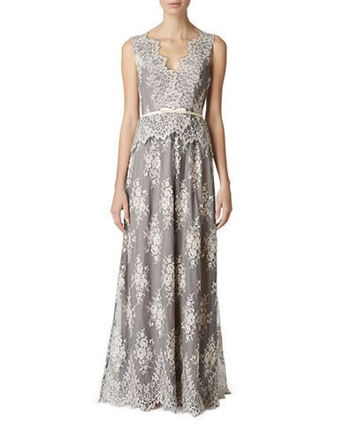 Brands Formalevening Lace Belted Peplum Gown Lord And Taylor