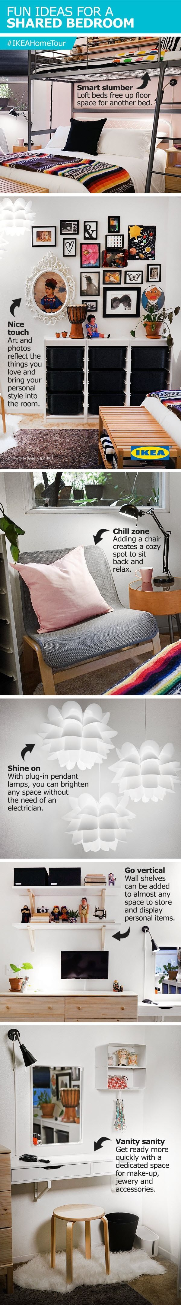 College loft bed ideas  Fun ideas for a bright and functional shared bedroom from the IKEA