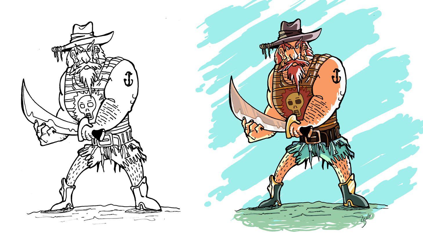 Concept art personaje Pirata, de tinta a color digital | My ...