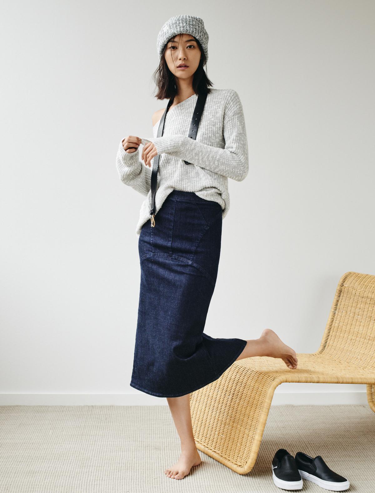 7f557b90dc madewell denim pencil skirt worn with the leftbank sweater, slouchy beanie,  backcountry belt + vans® classic slip-ons.