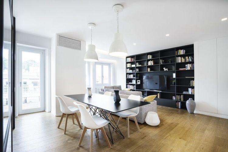 Raumteiler Aus Glas Stahl Loft Wohnzimmer Esstisch Holzboden