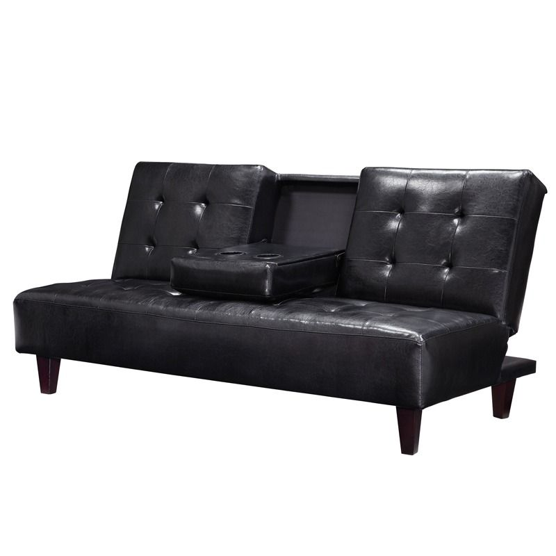 The Bruno Black Sofa Futon Comes In Rich Faux Leather For A Richly Sleek Eal With Durable Hardwood Frame
