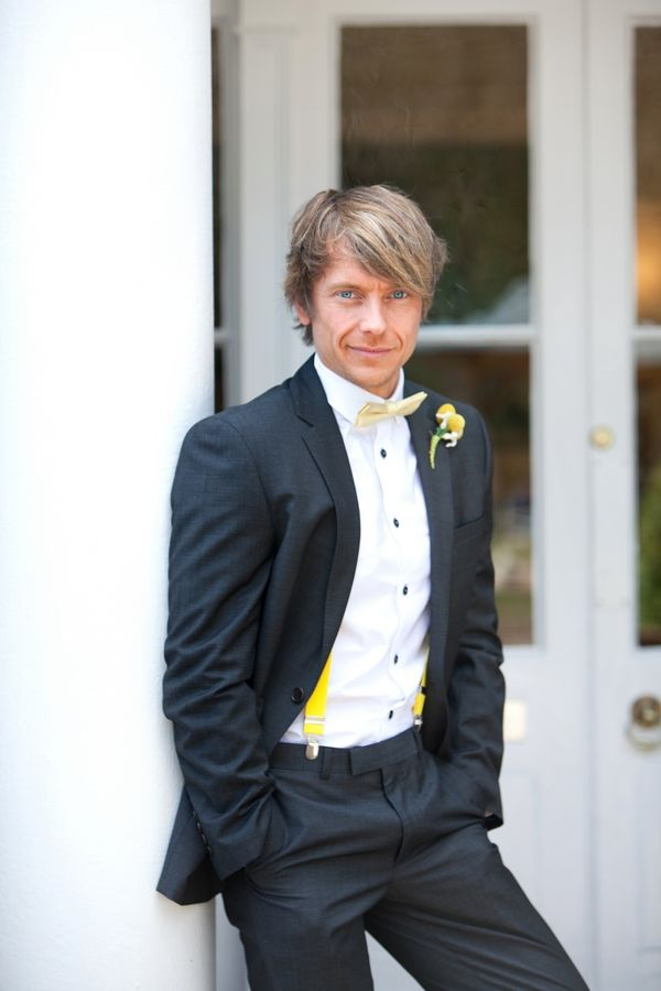 Groom in Dark Grey Suit with Yellow Braces and Bow Tie | Groom ...