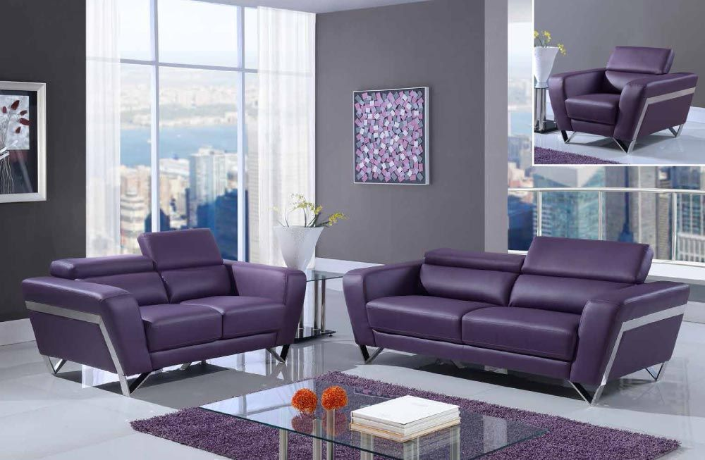 Purple Modern Bonded Leather Sofa Set With Chrome Legs