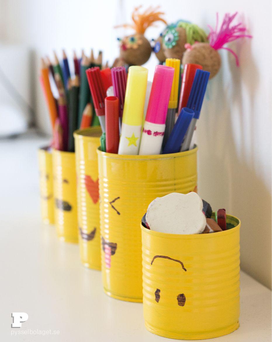 Make Emoji Tin Can Pencil Holders Pysselbolaget Fun Easy