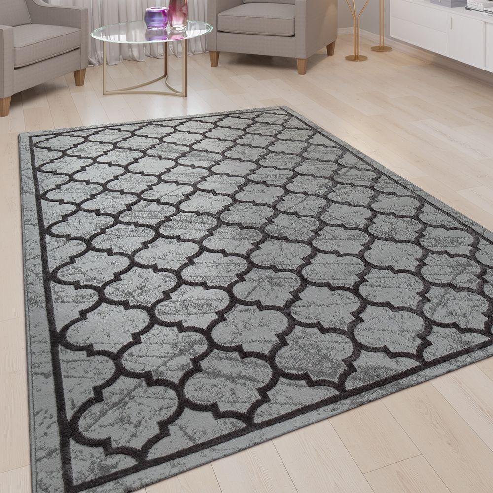 Kurzflor Wohnzimmer Teppich 3d Optik Marrokanisches Muster In Anthrazit Grau Teppiche Teppich Grau Marokkanische Muster Wohnzimmer Teppich