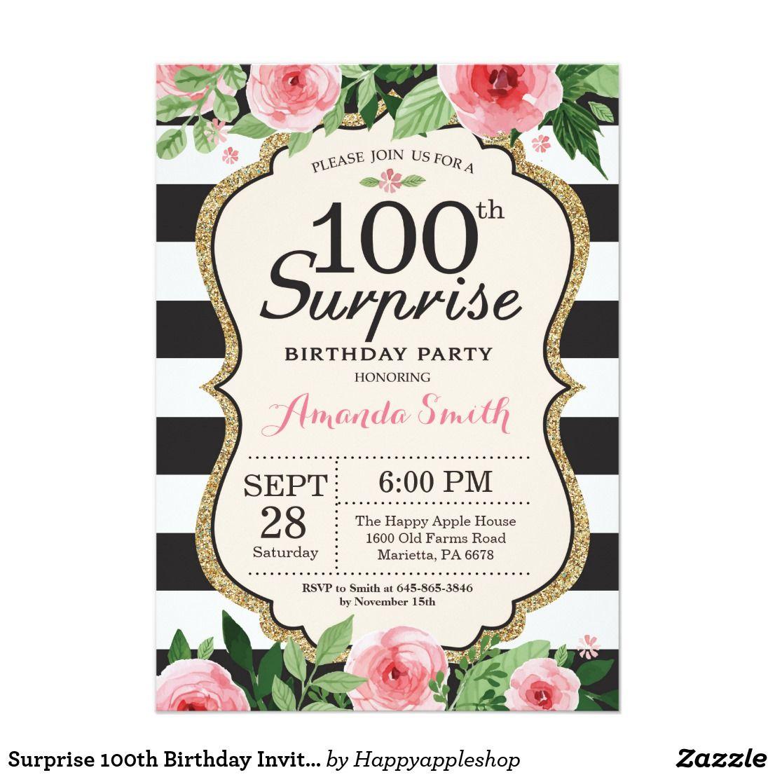 Surprise 100th Birthday Invitation Women Floral