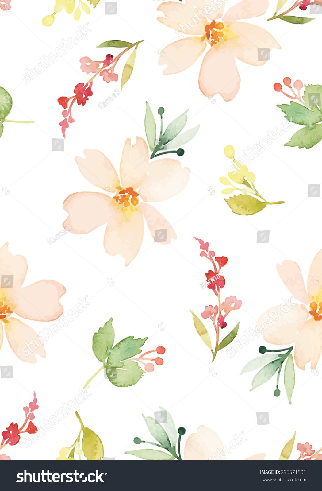Watercolor Flowers Seamless Pattern Vector Illustration Gentle