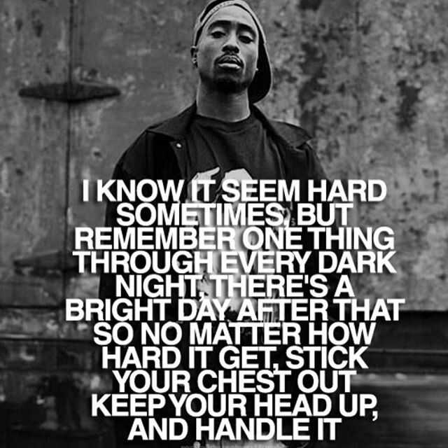 """Tupac lyrics from his hit song """" Keep your head up"""" Hard"""
