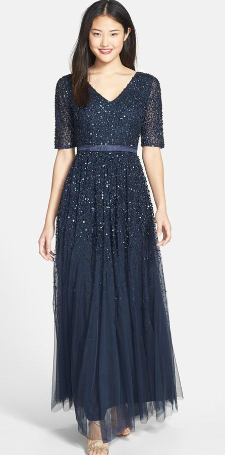Midnight Blue Embellished Tulle Gown