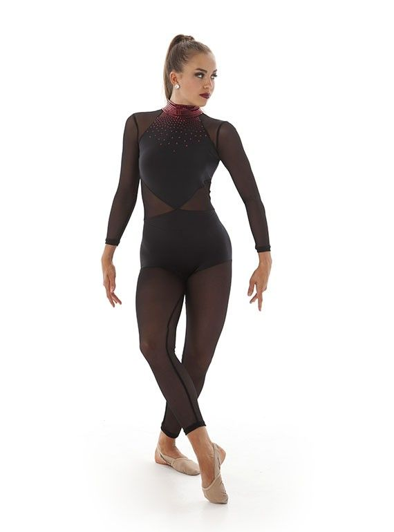 Power Mesh Bodysuit Dance Wear Legs Sleeves Tights All in One Unitard Catsuit