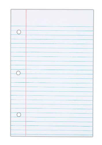 TOPS Notebook Filler Paper, College Ruled, 85 x 55 Inches, Hole - college ruled lined paper template