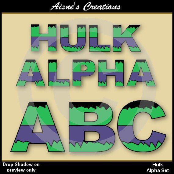Superhero alphabet clip art set inspired by The Hulk