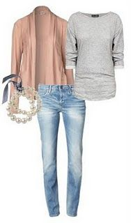 light wash jeans, pearls, grey