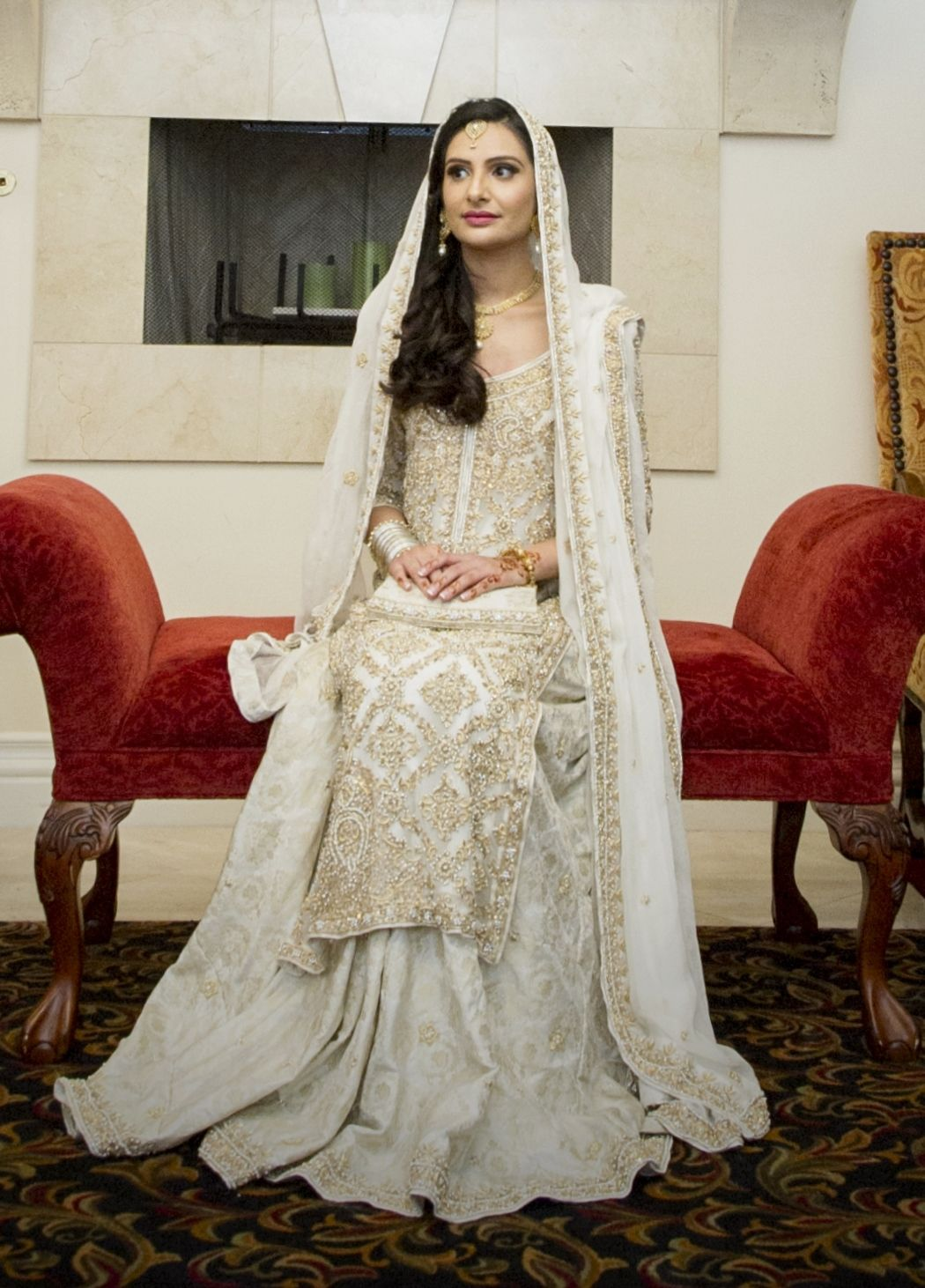 White and gold Pakistani bridal, long shirt with lehenga. my ...