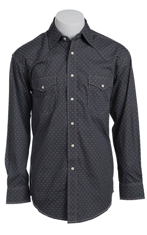 892d1013524 Roughstock® Men s Grey with Blue Vintage Print Long Sleeve Western Shirt  R0S5264