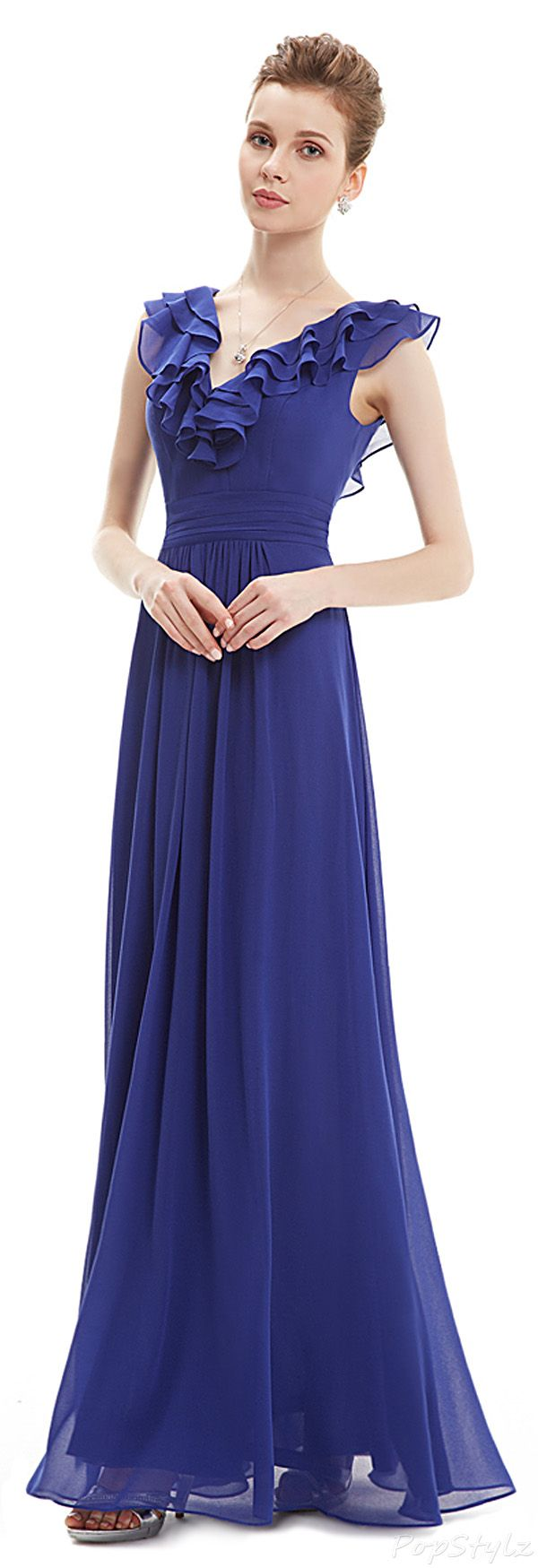 Double vneck ruffles long evening dress clothes for gals