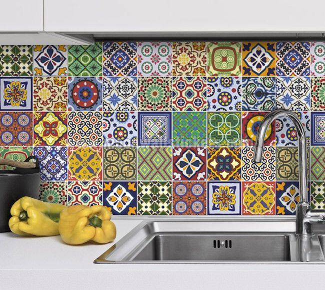 Vinilos adhesivos talavera caja de 48 vinilos para azulejos decora tu ba o o tu cocina - Pegatinas para azulejos ...