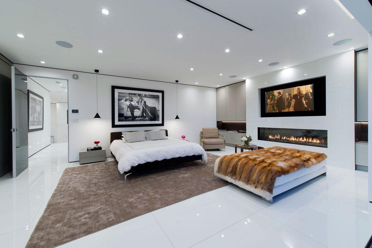 Master bedroom, fireplace in bedroom, white walls in bedroom