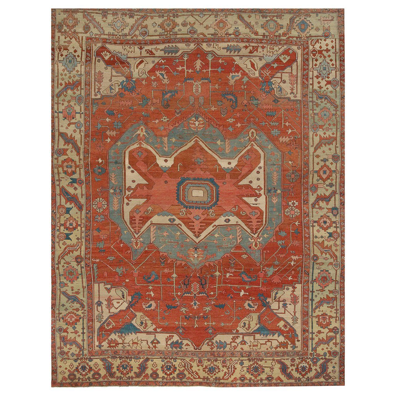 Antique Heriz Serapi Rug Circa 1890