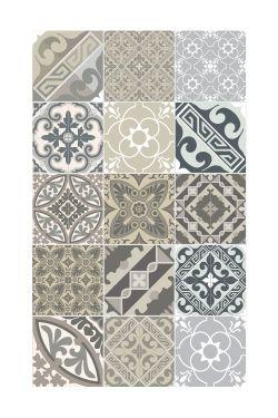 grand tapis en vinyle aux motifs graphiques gris imitation carreaux de ciment dimensions 70cm. Black Bedroom Furniture Sets. Home Design Ideas