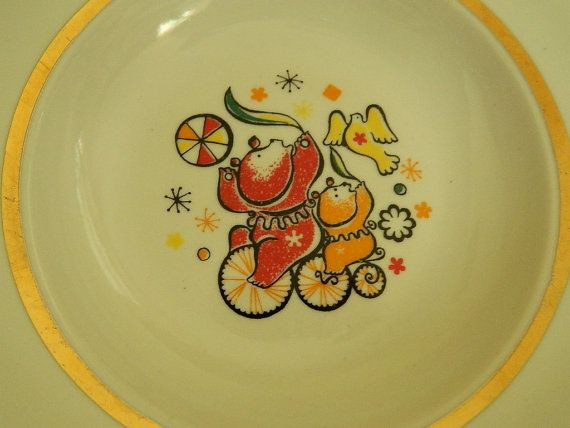 Kids Porcelan Soup Plate With Two Circus Bear Made In Dulevo Ussr Soviet Porcelain Ceramic Childrens Plate Plates Vintage Plates Soup Plating