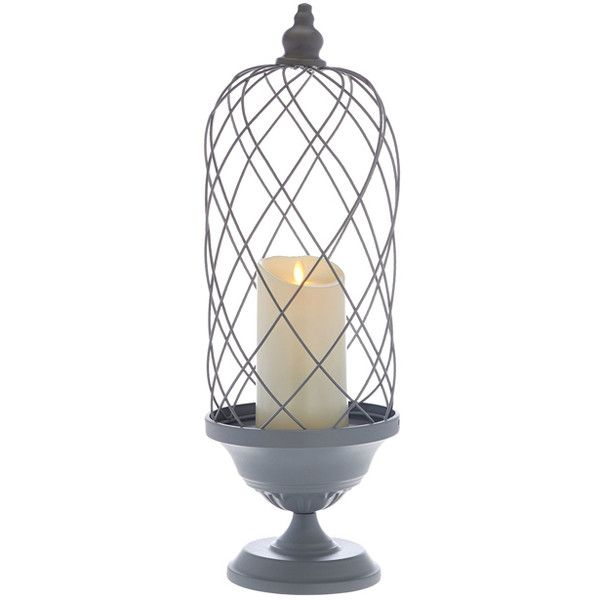 Luminara Graystone 24'' Birdcage With 7'' Indoor/Outdoor Candle ($45) ❤ liked on Polyvore featuring home, home decor, candles & candleholders, led battery candles, birdcage centerpieces, ivory candles, battery operated candles and luminara candles
