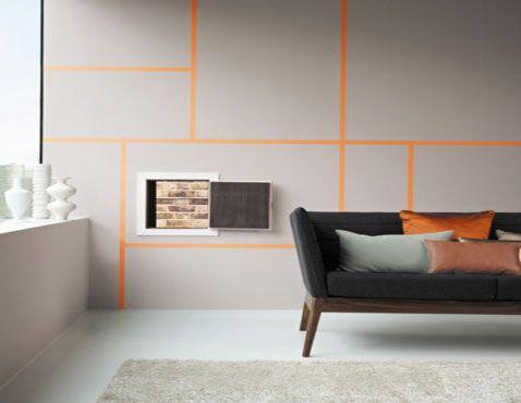 couleurs-peinture murale-salon-gris-et-ligne-orange | Peinture ...
