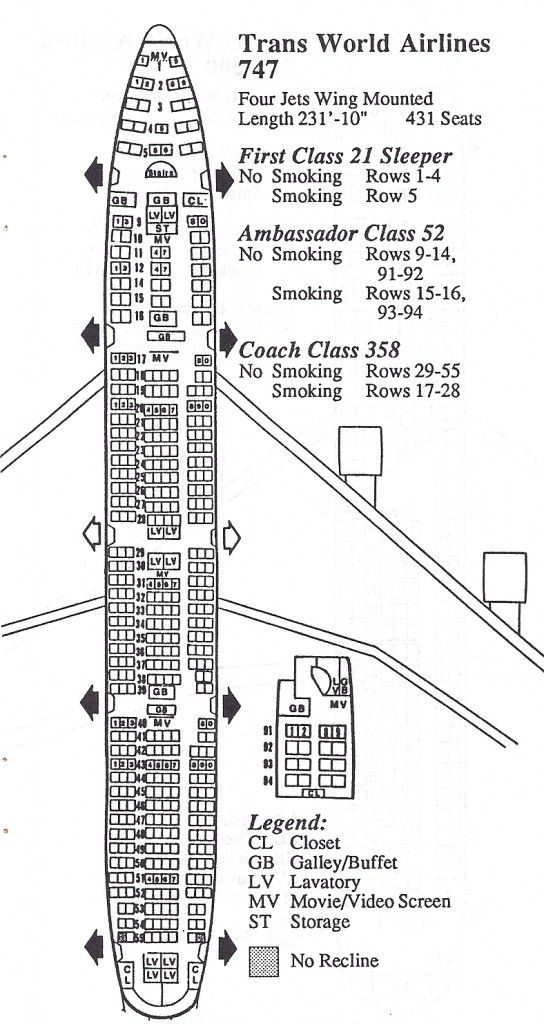 Vintage Airline Seat Map: TWA Boeing 747-100 | All Things TWA ...
