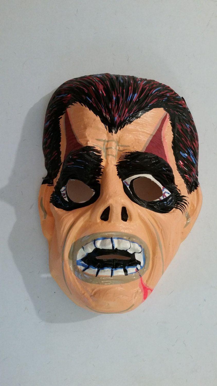 vintage halloween mask molded plastic adult monster mask 1960's