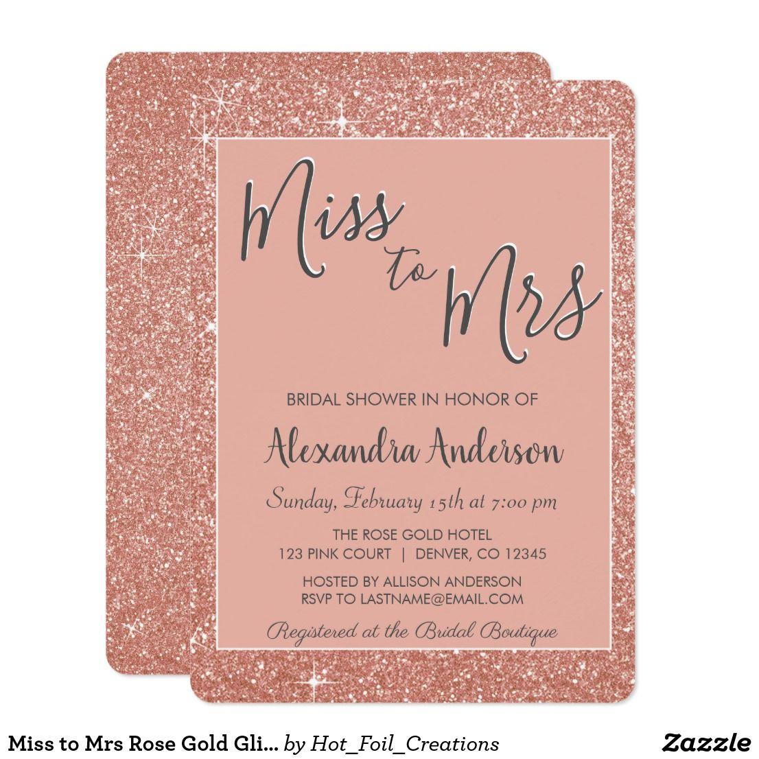 miss to mrs rose gold glitter bridal shower card miss to mrs pink rose gold faux sparkle glitter bridal shower party invitation