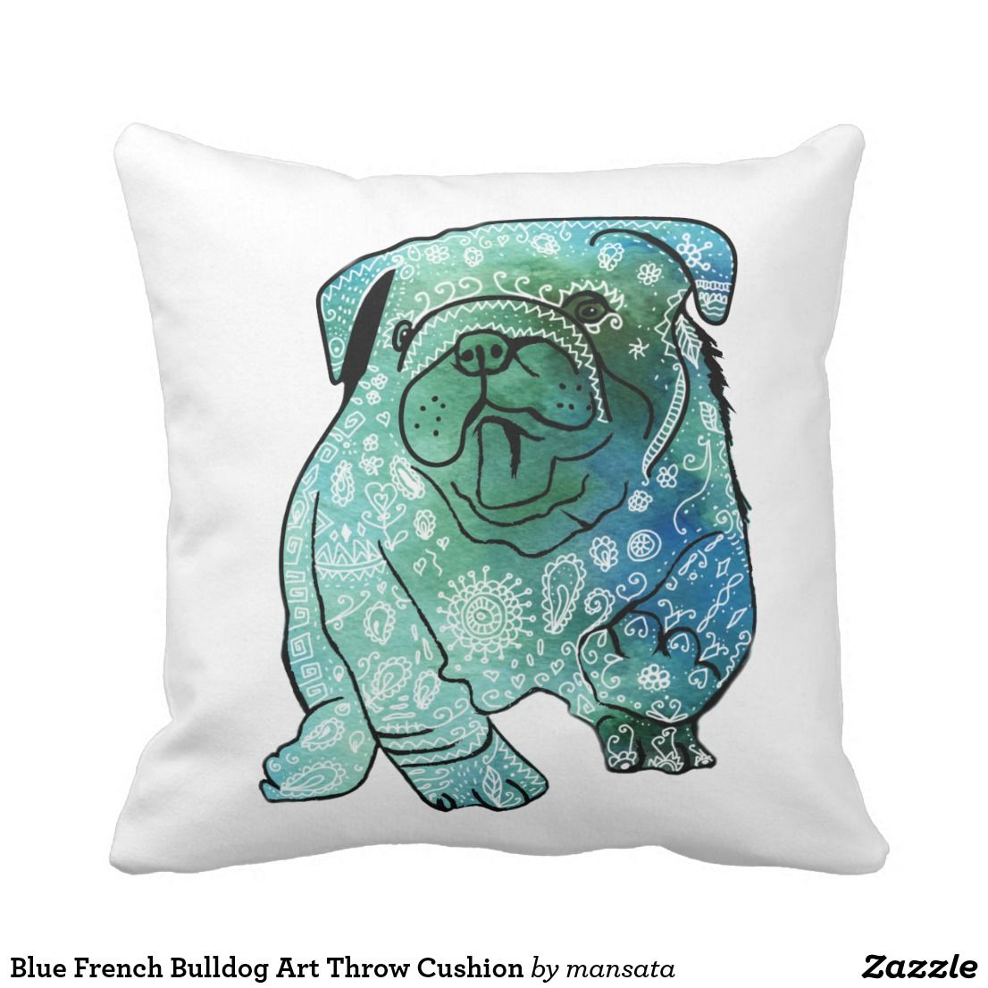 Blue French Bulldog Art Throw Cushion Zazzle.co.uk