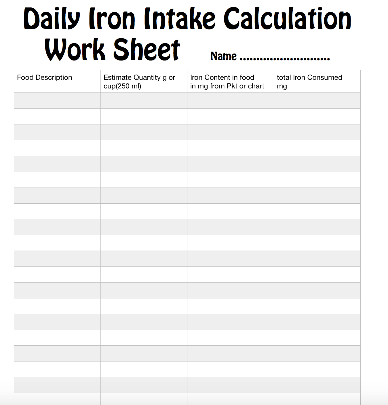 8a Calculate Your Daily Iron Intake